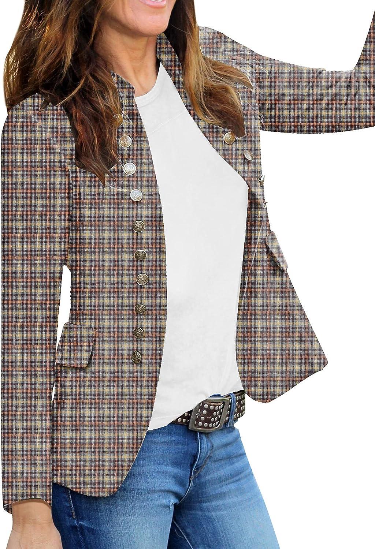 GRAPENT Women's Business Casual Buttons 買取 Front Open 年中無休 Pockets Blaze