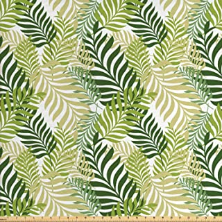 Ambesonne Leaf Fabric by The Yard, Tropic Exotic Palm Tree Leaves Natural Botanical Spring Summer Contemporary Graphic, Decorative Fabric for Upholstery and Home Accents, 3 Yards, Green Ecru
