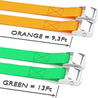 Xiangle Premium Cam Buckle Lashing Strap Tie Down Straps 8-foot-by-1-inch up to 1000lbs,2 Pack 8FT, 2pk Orange