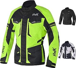 Adventure/Touring Motorcycle Jacket For Men Textile Motorbike CE Armored Waterproof Jackets ADV 4-Season (Hi-Vis Green, 4XL)