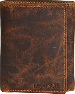 Genuine Leather Mens RFID Blocking Slim Trifold Wallet with 6 Cards+1 ID Window + 2 Note Compartments.