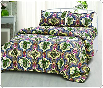 Click Collection Double Bedsheet with 2 Pillow Covers - Multi Cotton Bedsheets for Double Bed