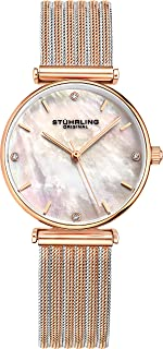 Womens Watch Mother of Pearl Analog Watch Dial, Silver Stainless Steel Braided Mesh 3927 Watches for Women Collection