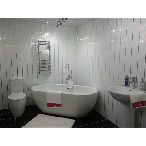 10 White Sparkle Chrome Strip Diamond Effect PVC Bathroom Cladding Shower Wall Panels