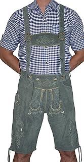Dirndl Trachten Haus 2-Piece Leather German Oktoberfest Lederhosen Shorts Grey
