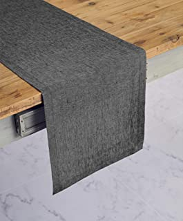 Solino Home 100% Pure Linen Table Runner – 14 x 36 Inch Athena, Handcrafted from European Flax, Natural Fabric Runner – Charcoal Grey