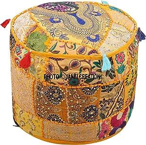 Janki Creation Hocker Fußhocker, indischer Stil, Patchwork, Pouf, Polsterhocker, Hocker/Pouf, Bestickt, Gelb, Baumwolle, 18x 18x 13, Hassock, Floral, Türkis
