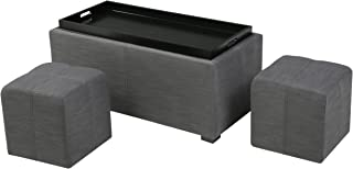 Christopher Knight Home Living August Grey 3-piece Fabric Tray Top Nested Storage Ottoman Bench, Gray
