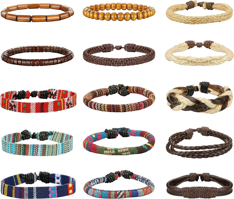 LOYALLOOK 15pcs San Francisco Mall Men Women Linen Hemp Tri Cords Don't miss the campaign Wood Beads Ethnic