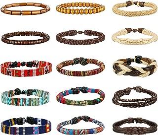 15pcs Men Women Linen Hemp Cords Wood Beads Ethnic Tribal Bracelets Leather Wristbands