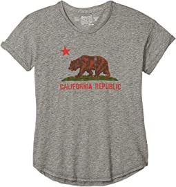 Rolled Short Sleeve Mocktwist Vintage California Republic Bear (Big Kids)