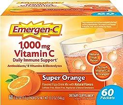 Emergen-C Vitamin C 1000mg Powder (60 Count, Super Orange Flavor, 2 Month Supply), With Antioxidants, B Vitamins And Electrolytes, Dietary Supplement Fizzy Drink Mix, Caffeine Free