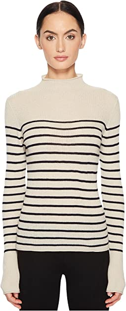 Vince Striped Roll Edge Mock Neck