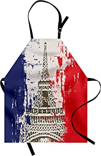 Lunarable Paris Apron, Grunge Style French Flag with Eiffel Tower City of Love in Retro Colors Europe, Unisex Kitchen Bib with Adjustable Neck for Cooking Gardening, Adult Size, Beige Blue