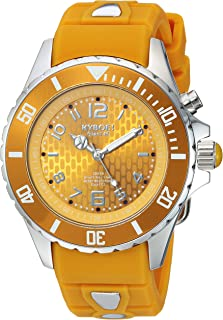 KYBOE! Power Stainless Steel Quartz Watch with Silicone Strap, Yellow, 21 (Model: SC.40-006.15
