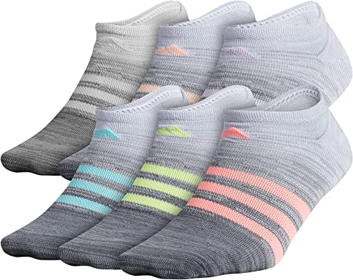 adidas girls Kids-girl's Superlite No Show Socks (6-pair)