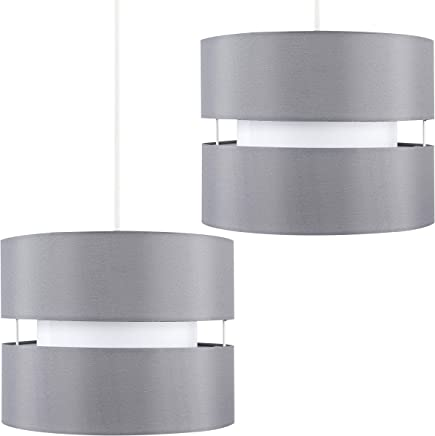 Pair of - Modern 2 Tier Cylinder Ceiling Pendant Light Shades in a Grey Finish