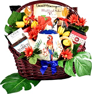 Tea-riffic Tropical Treats - Tropical Gift Basket For Women With Ceramic Teapot, Assorted Teas, Chocolates, Cookies & More, 8 lb