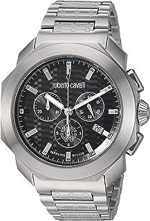 ROBERTO CAVALLI Men's Sport Classic Chrono Swiss Quartz Watch with Stainless Steel Strap, Silver, 22 (Model: RV1G044M0086)