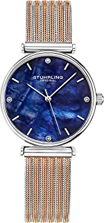 Stuhrling Original Womens Watch Mother of Pearl Analog Watch Dial, Silver Stainless Steel Braided Mesh 3927 Watches for Women Collection