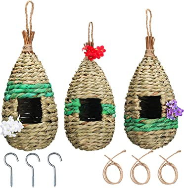 NEKLJJ Hummingbird Bird House for Outdoor Hanging - Bird House for Outside with Hooks and Ropes and Artificial Flowers Set of