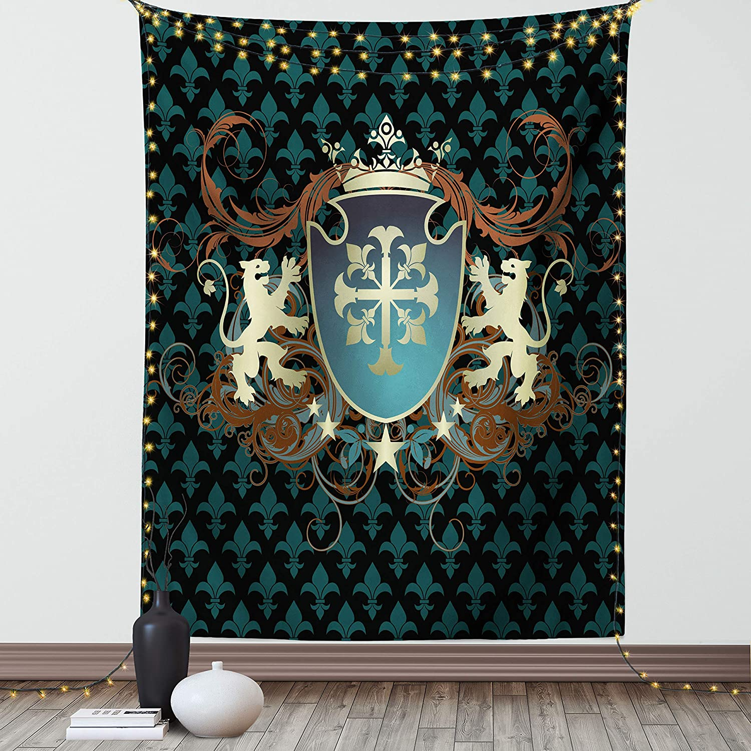 Ambesonne Medieval Tapestry, Heraldic Design from Middle Ages Coat of Arms Crown Lions and Swirls, Wall Hanging for Bedroom Living Room Dorm Decor, 40