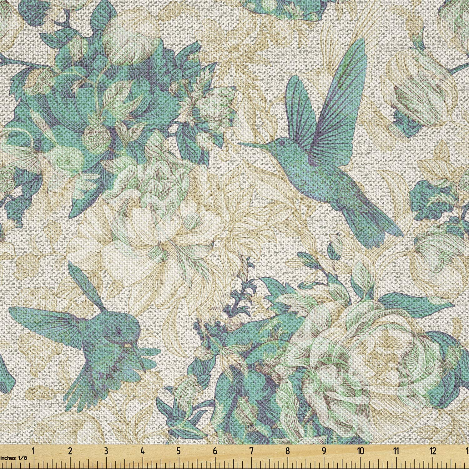 Ambesonne Vintage Rose Fabric Direct store by The Leaves and Yard Daily bargain sale Birds Grun
