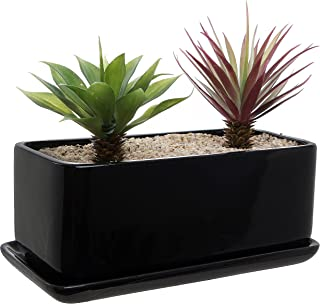 10 inch Rectangular Modern Minimalist Black Ceramic Succulent Planter Pot/Window Box with Saucer