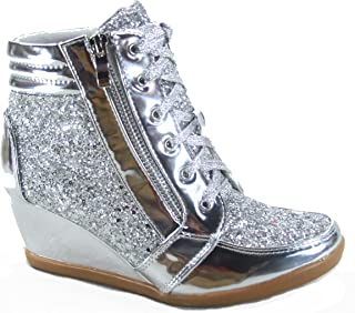Forever Link Peggy-44 Women's Fashion Glitter High Top Lace Up Wedge Sneaker Shoes (5.5 B(M) US, Silver)
