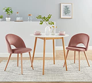 BAÏTA Eugenie Lot de 2 chaises, Velours Rose, 52x56x77cm