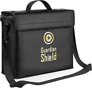 Guardian Shield Fireproof Document Bag: Fire Safe Document Holder Lock Box Bag with Waterproof Zipper - Fire and Water Proof Safety Storage Bags for Documents, Money, Valuables - 16 x 13 x 5 Inches
