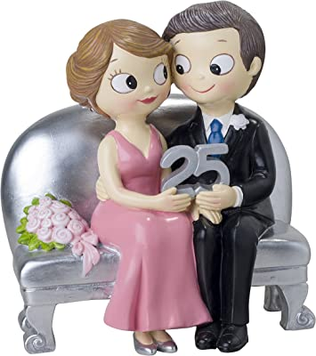 Mopec Figurine Sitting Boyfriends 25 Anniversary, Polyresin, Silver, 8.5 x 14 x 15 cm