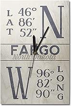 Lantern Press Fargo, North Dakota - Latitude and Longitude (Blue) (10x15 Wood Wall Clock, Decor Ready to Hang)