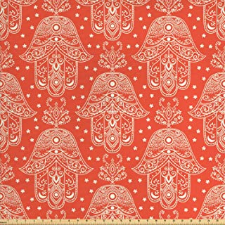 Lunarable Hamsa Fabric by The Yard, Egyptian Boho Hamsa Hand Pattern with Eye Design Bridal Night Inspired Art, Decorative Fabric for Upholstery and Home Accents, 1 Yard, White Coral