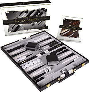 Crazy Games Backgammon Set – Classic 14.75 Inch Backgammon Sets for Adults Board..
