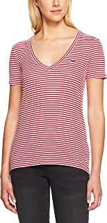 Lacoste Women's Deep V Stripe Tee