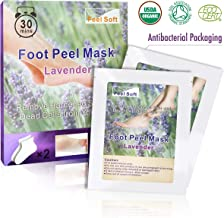 Feel Soft: Exfoliating Foot Peel Mask - 2 Pairs Lavender Scented Peel Mask, Peel-off Hardened Skin/Callus and Dead Cells from Your Feet, Silky Soft Foot. Moisturizes for Smoother Heels