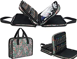 Pacmaxi 54 Bottles Essential Oil Storage Carrying Case With Clear Accessories Pocket-Three-layer Paisley Essential Oil Carrying Storage Bag Holds 10ml, 15ml and Roller Bottles (Paisley Green)