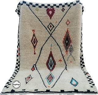 Moroccan Handmade rug Berber Beni Ourain Boujaad Azilal Shag Rug 6.1 feet x 8.8 feet Organic Wool Hand knotted Carpet
