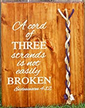 A Cord of Three Strands Unity Braids Wedding Board, Gods Cords Personalized 24x17 Choose your colors!
