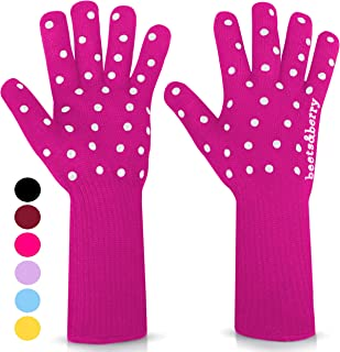 Oven Gloves Oven Mitts Heat Resistant to 932� | 1 Pair Designer BBQ Gloves Heat Resistant for Men & Women with Extra Long Sleeves to Protect Forearms | Smoker Grill Gloves with Superior Non-Slip Grip