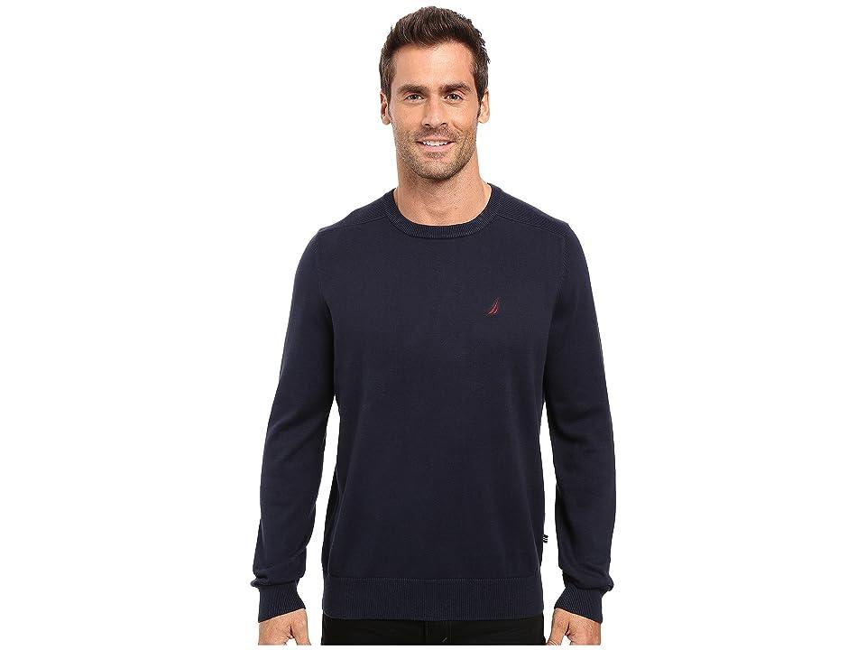 Nautica Solid Crew Neck Sweater (Navy) Men