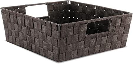 Whitmor Woven Strap Shelf Storage Tote, Espresso