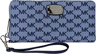 Michael Kors Womens Jet Set Travel Continental Logo Wristlet - Admiral