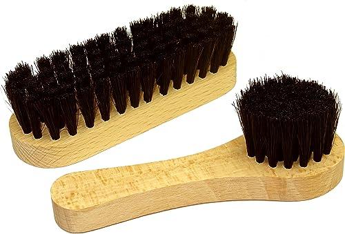 DELARA Une Petite Brosse à Chaussures et Une Petite Brosse à Cirage en Poils naturels, Couleur: Noir