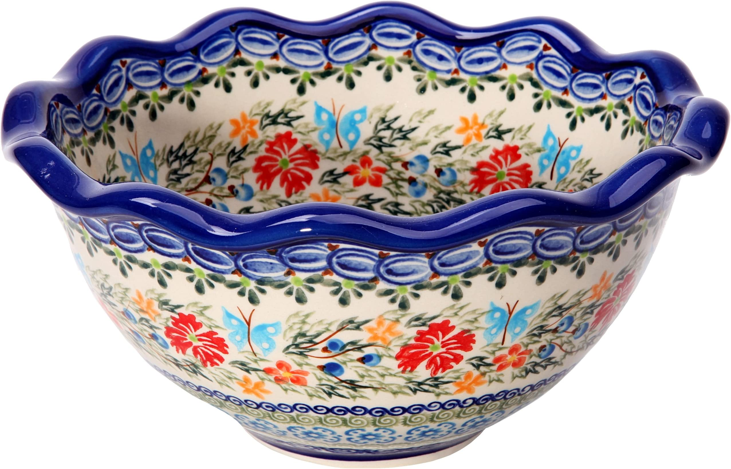 Bluelace collection Handcrafted Ceramic Cereal Or Salad Bowl 360ml Traditional Polish Pottery d. 13cm Boleslawiec Style Pattern