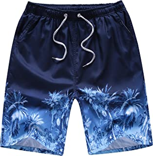Aidle Men's Printing Quick Dry Beach Board Shorts Swim Trunks