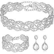 Miraculous Garden Choker Necklace for Women - Jewelry Sets for Women,Rhinestone Crystal Necklace...