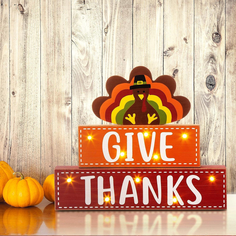 "glitzhome Thanksgiving Sign Wooden Block 10""H Distressed Give Thanks Wood Sign Welcome Thanksgiving Lighted Turkey Decor Farmhouse Fall Harvest Wood Block Table Decor"