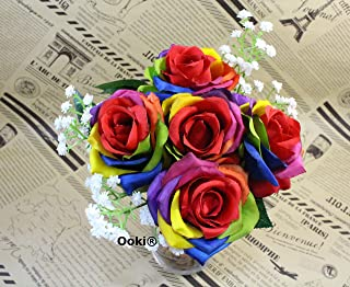 Ooki Custom Handmade Artificial Silk Rainbow Rose Toss Bouquet Bridesmaid Flower Bush Arrangement Home Decor Wedding Party Celebration Centerpiece Twine